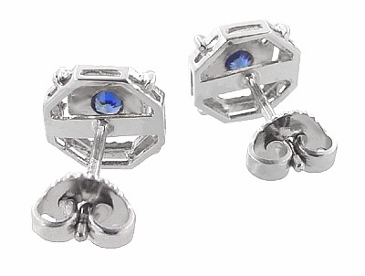 Art Deco Sapphire Stud Earrings in Platinum - Item E152P - Image 2