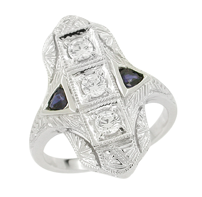 Art Deco Sapphires and Diamonds Engraved Cocktail Ring in 14 Karat White Gold