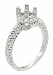 Art Deco Scroll Engraved 1 Carat Diamond Knife Edge Crown Engagement Ring Setting in 18 Karat White Gold - Item R710 - Image 1