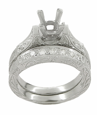 Art Deco Scrolls 1/2 Carat Princess Cut Diamond Engagement Ring Setting and Wedding Ring in Platinum - Item R725P - Image 1