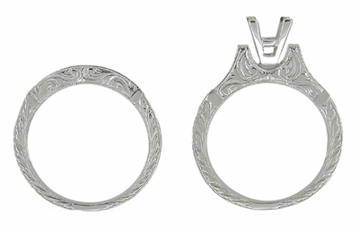 Art Deco Scrolls 1/2 Carat Princess Cut Diamond Engagement Ring Setting and Wedding Ring in Platinum - Item R725P - Image 4
