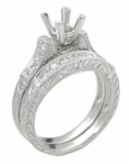 Art Deco Scrolls 1.25 Carat Princess Cut Diamond Engagement Ring Setting and Wedding Ring in 18 Karat White Gold