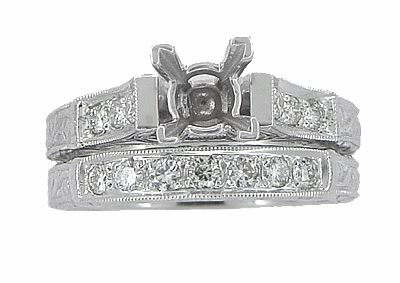 Art Deco Scrolls 1.25 Carat Princess Cut Diamond Engagement Ring Setting and Wedding Ring in 18 Karat White Gold - Item R952 - Image 3