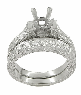 Art Deco Scrolls 1.50 Carat Princess Cut Diamond Engagement Ring Setting and Wedding Ring in 18 Karat White Gold - Item R953 - Image 1