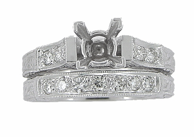 Art Deco Scrolls 1 Carat Princess Cut Diamond Engagement Ring Setting and Wedding Ring in 18 Karat White Gold - Item R798 - Image 3
