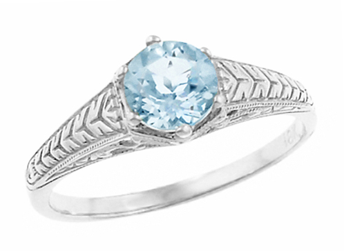 Art Deco Engraved Scrolls And Wheat Aquamarine Solitaire