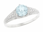 Art Deco Engraved Scrolls and Wheat Aquamarine Solitaire Engagement Ring in 18 Karat White Gold
