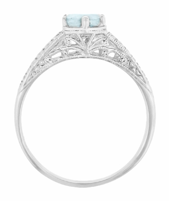 Art Deco Scrolls and Wheat Aquamarine Solitaire Filigree Engraved Engagement Ring in Platinum - Item R688PA - Image 2