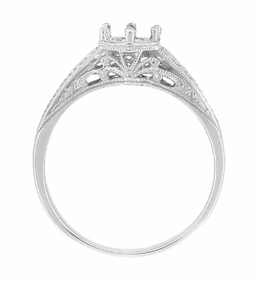 Art Deco Scrolls and Wheat Filigree Engagement Ring Setting for a 3/4 Carat Diamond in 18 Karat White Gold - Item R688 - Image 1