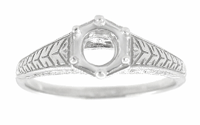 Art Deco Scrolls and Wheat Filigree Engagement Ring Setting for a 3/4 Carat Diamond in 18 Karat White Gold - Item R688 - Image 2