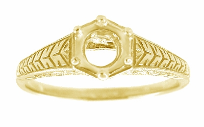 Art Deco Scrolls and Wheat Filigree Engagement Ring Setting for a 3/4 Carat Diamond in 18 Karat Yellow Gold - Item R688Y - Image 2