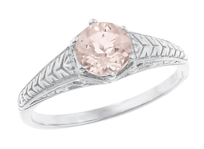 Art Deco Scrolls and Wheat Morganite Solitaire Filigree Engraved Engagement Ring in 18 Karat White Gold