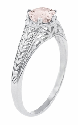 Art Deco Scrolls and Wheat Morganite Solitaire Filigree Engraved Engagement Ring in Platinum - Item R688PM - Image 1