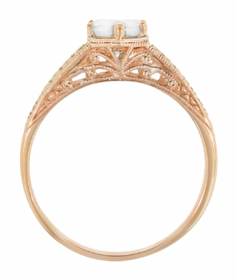 Art Deco Scrolls and Wheat White Sapphire Solitaire Filigree Engraved Engagement Ring in 14 Karat Rose Gold - Item R688RWS - Image 2