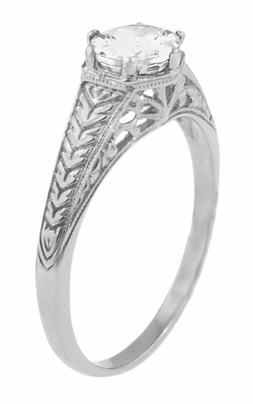Art Deco Scrolls and Wheat White Sapphire Solitaire Filigree Engraved Engagement Ring in 18 Karat White Gold - Item R688WWS - Image 1