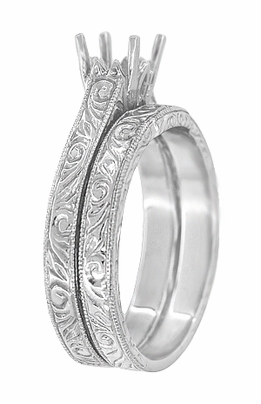 Art Deco Scrolls Contoured Engraved Wedding Band in 18 Karat White Gold - Item WR199PRW - Image 1