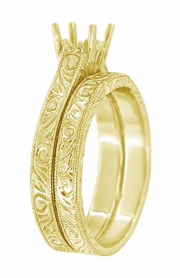 Art Deco Scrolls Contoured Engraved Wedding Band in 18 Karat Yellow Gold - Item WR199PRY75 - Image 1