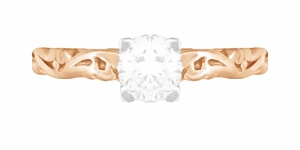 Art Deco Scrolls Diamond Engagement Ring in 14 Karat Rose Gold - Item R639RD - Image 3