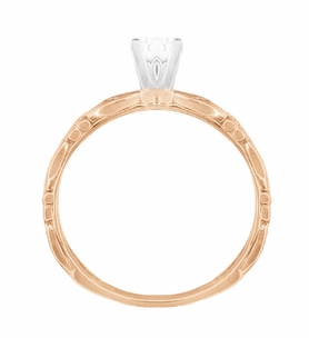 Art Deco Scrolls Diamond Engagement Ring in 14 Karat Rose Gold - Item R639RD - Image 4