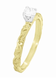 Art Deco Scrolls Diamond Engagement Ring in 14 Karat Yellow Gold - Item R639YD - Image 2