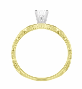 Art Deco Scrolls Diamond Engagement Ring in 14 Karat Yellow Gold - Item R639YD - Image 4