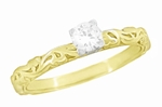 Art Deco Scrolls Diamond Engagement Ring in 14 Karat Yellow Gold