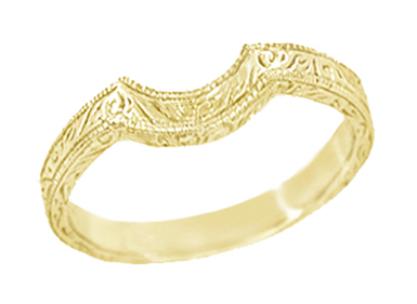Art Deco Scrolls Engraved Curved Wedding Band in 18 Karat Yellow Gold