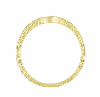 Art Deco Scrolls Engraved Curved Wedding Band in 18 Karat Yellow Gold - Item WR199Y50 - Image 4