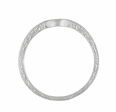 Art Deco Scrolls Engraved Curved Wedding Band in Palladium - Item WR199PDM50 - Image 4