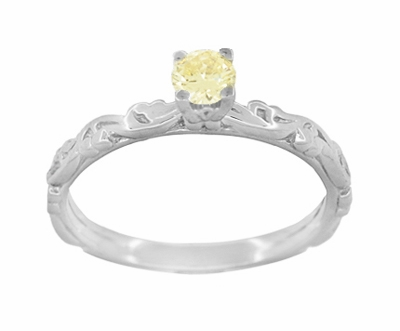 Art Deco Scrolls Fancy Yellow Diamond Engagement Ring in 14 Karat White Gold - Item R639WYD - Image 1