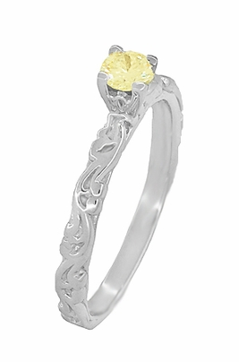Art Deco Scrolls Fancy Yellow Diamond Engagement Ring in 14 Karat White Gold - Item R639WYD - Image 2