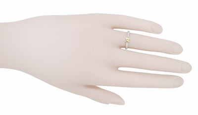 Art Deco Scrolls Fancy Yellow Diamond Engagement Ring in 14 Karat White Gold - Item R639WYD - Image 5