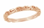 Art Deco Scrolls Wedding Band in 14 Karat Rose ( Pink ) Gold