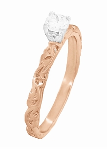 Art Deco Scrolls White Sapphire Engagement Ring in 14 Karat Rose Gold - Item R639RWS - Image 2