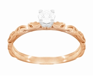 Art Deco Scrolls White Sapphire Engagement Ring in 14 Karat Rose Gold - Item R639RWS - Image 3
