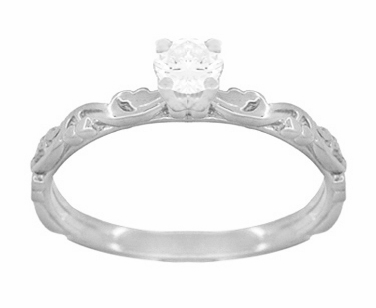 Art Deco Scrolls White Sapphire Engagement Ring in 14 Karat White Gold - Item R639WWS - Image 1