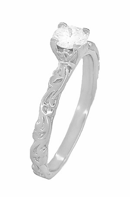 Art Deco Scrolls White Sapphire Engagement Ring in 14 Karat White Gold - Item R639WWS - Image 2