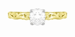 Art Deco Scrolls White Sapphire Engagement Ring in 14 Karat Yellow Gold - Item R639YWS - Image 4