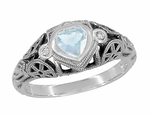 Art Deco Filigree Heart Shaped Sky Blue Topaz Promise Ring in Sterling Silver