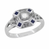 Art Deco Square Blue Sapphires and White Sapphire Engraved Engagement Ring in Sterling Silver