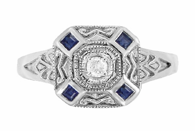 Art Deco Square Blue Sapphires and White Sapphire Engraved Promise Ring in Sterling Silver - Item SSR17WS - Image 1