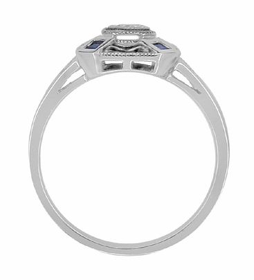 Art Deco Square Blue Sapphires and White Sapphire Engraved Promise Ring in Sterling Silver - Item SSR17WS - Image 2