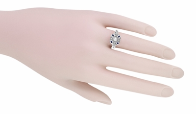 Art Deco Square Blue Sapphires and White Sapphire Engraved Promise Ring in Sterling Silver - Item SSR17WS - Image 3