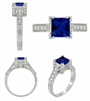 Art Deco Square Castle 1 Carat Princess Cut Blue Sapphire Engagement Ring in 18 Karat White Gold with Diamonds - Item R496S - Image 1