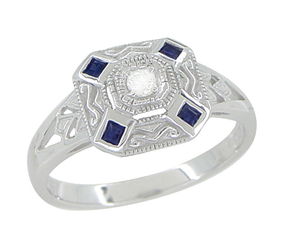 Art Deco Square Sapphires and Diamond Engraved Ring in 14 Karat White Gold