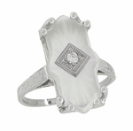 Art Deco Sunburst Crystal and Diamond Ring in 18 Karat White Gold