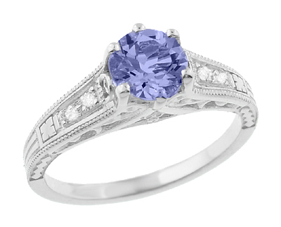 Art Deco Filigree Tanzanite and Diamond Engagement Ring in 14 Karat White Gold