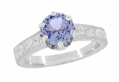 Art Deco Tanzanite Crown Filigree Scrolls Engraved Engagement Ring in 18 Karat White Gold - December Birthstone - Item R199TA - Image 2
