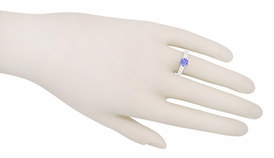 Art Deco Tanzanite Crown Filigree Scrolls Engraved Engagement Ring in 18 Karat White Gold - December Birthstone - Item R199TA - Image 6