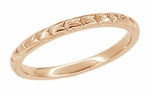 Art Deco Thin Engraved Wheat Wedding Band in 14 Karat Rose ( Pink ) Gold